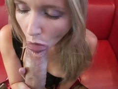 Cherry Jul draining the cock of a stud by her mouth