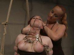 Katy Borman feel hard being tied with rope