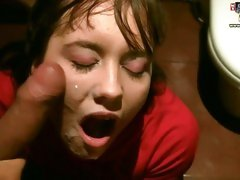 Brunette bent over stuffed with sausage and gets facial