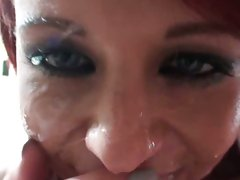 Ex Girlfriend spunk up on face with man's cream