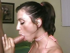Ariella Ferrera holding a cock and suck it gently