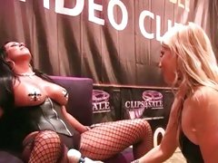 Ashley Fires use vibrator to her friend in the public