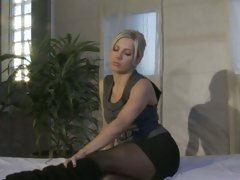 Ashley Fires blonde chick in black dress