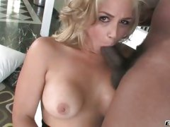 Sarah Vandella hot babe sucking a massive black dick