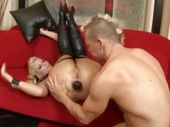 Phoenix Marie dildo drilled by a mohawk guy