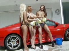Angel Dark, Sara Stone and Breanne Benson car wash