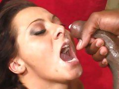 Saucy Sandra Romain loves getting a mouth full off cum