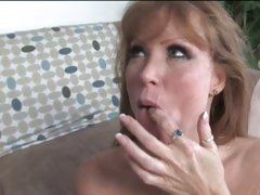 Darla Crane splooge on mouth with black guy&#039;s cummings