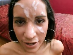 Tia Cyrus letting a thick whitish fluid flow on face