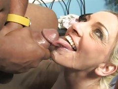Cala Craves rides black cock and takes load to face