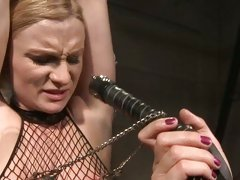 Katy Borman scared with a leather whip on hot slut
