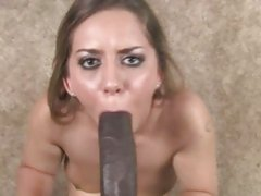 Allie Foster have a hard time sucking a black cock