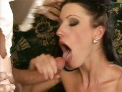 Nikki Rider open her mouth to have a warm cum