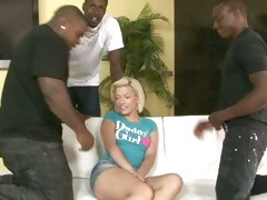 Bibi Noel being tease by horny black guys on couch