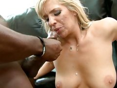 Jordan Kingsley got sprayed with a cum from black dick