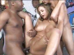 Trina Michaels bang on chair with black cocks