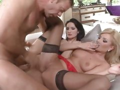 Donna Bell and Rocco Siffredi group sex on couch