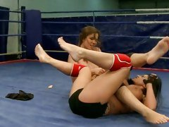 Kerry Louise and Peaches brunette babes fighting