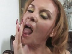 Janet Mason lusty babe got face cream from black cock
