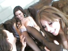 Alexa Nicole with other hot babe horny on couch