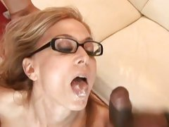 Raunchy Nina Hartley enjoys getting drenched in cum