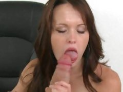 This brunette tart sucks a cock at her first audition