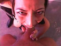 Freaky girl on a leash
