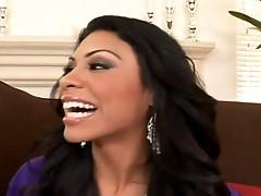 Brunette latina Cassandra Cruz deep sucking a boner