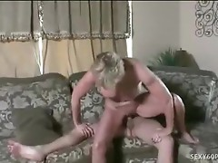 Mature Honey Jizzed On Enormous Fake Tits