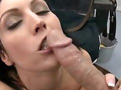 Bitchy short-haired Dylan Ryder takes her Man's lovegun in her filthy Mouth