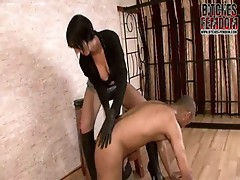 Perverted Mistress tortuRing her bondman in stockings
