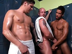 Locker room tryst. four muscle lads fuck.