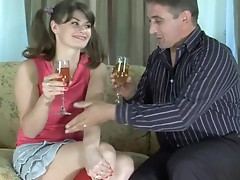 Bubbly ponytailed girlie talked into cock-sucking and boning by an aged gent