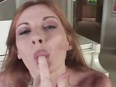 Nasty chick loves to spit on love stick & deepthroat onto it