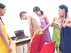 Caprice and her hot beautyfriends Measure guy's wang and blindfold him