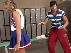 Flexible cheerleader Ally Kay sucking large pork dagger
