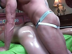 Lucas gets his anus greased with oil and fucked