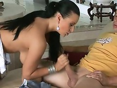 Big tits hot brunette babe giving