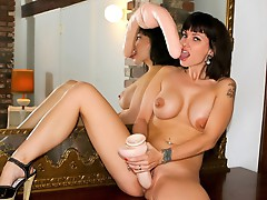 Awesome hot black haired babe plays her pleasant Horny bawdy cleft !