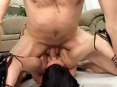Lusty brunette hooker Vic Sinister gets mouth and skinny ass impaled onto the couch
