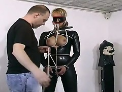 Lovely bondman girl has her tits tied up