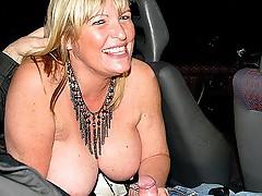 Giant jugs Milf swallowing the boner inside the car