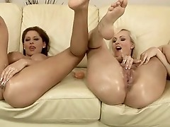 Alison Star and Bianca Golden finger slippery wet crack