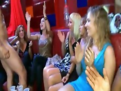 Tipsy and Horny ladies engulfing a stripper's shlong