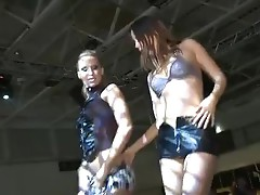 Naughty strippers lick each other