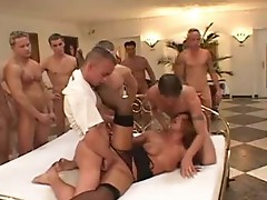 Vicious woman gets ready to fuck 50 Lucky guys on bed
