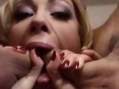 Indecent crazy AdriAnna Nicole gets her Mouth hammered with the Marseive errect cucumber