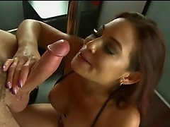 Horny Babe Ryder Skye deliciously fills up her Moist Mouth surrounding a throbbing boner