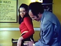 Hot hairy secretary in retro clip