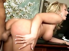 Bent over desk Serena Taylor gets dripping cunt hammered with bulky 10-pounder